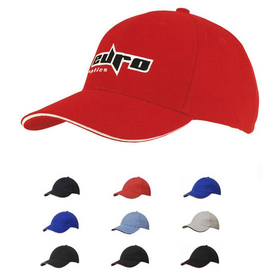 Heavy Brushed Cotton Baseball Cap with sandwich peak